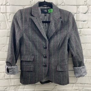 Jacob lambs wool plaid blazer with striped lining